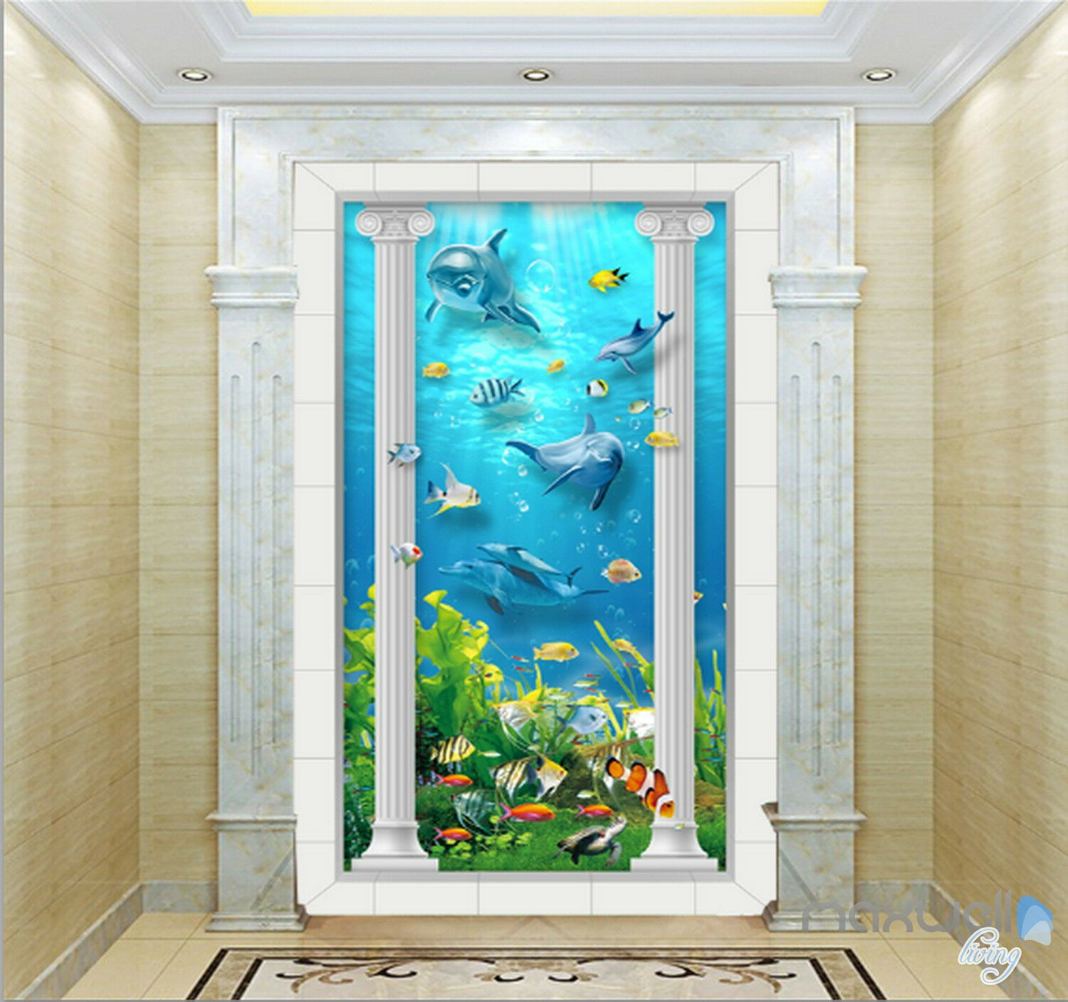 3D Roman Pillar Dophin Sea World Corridor Entrance Foyer Wall Mural Decals 13