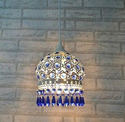 Blue Crystal Ceiling Pendant Lamp Fixture Lighting Chandelier Bedroom dining S