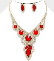 Red Clear Gold Wedding Rhinestone Crystal Pageant Necklace Jewelry Set Earring