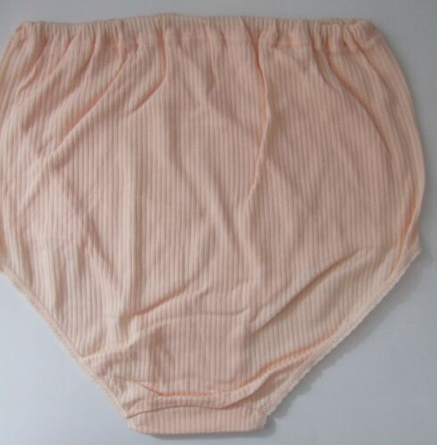 Maxi full briefs knickers size 12-14 ribbed tunnel elastic 100/% cotton Peach