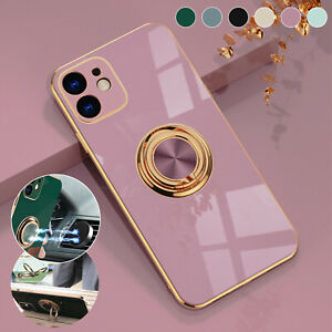 Glossy Plating TPU Ring Holder Soft Case Cover For iPhone 11 12 Pro Max XS XR 8