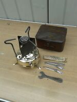 VINTAGE, BRASS PARAFFIN PRIMUS STOVE, IN TIN WITH TOOLS,USED BUT NICE CONDITION,