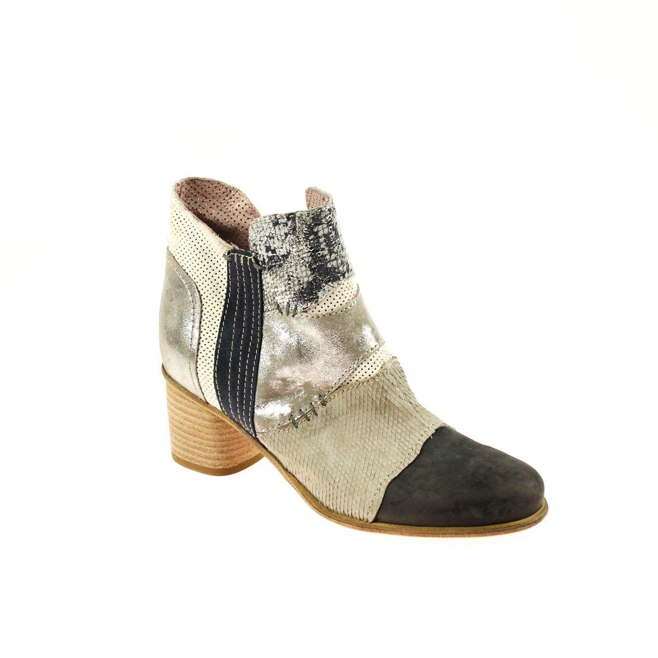 Charme Damen Stiefelette Halbschuh Leder Grau Dunkelgrau Silber Weiß Größe 37