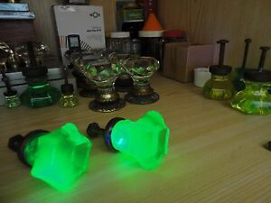 Pair ANTIQUE Drawer KNOBS - URANIUM GREEN Glass - VICTORIAN ERA Pulls Handles