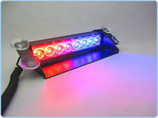 8 LEDs Wind Shield Sucker Warning Flash Red / Blue Light- Police Light 4W