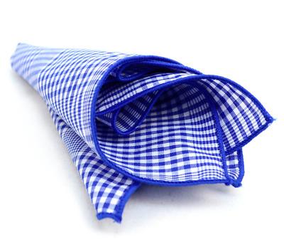 Blue Plaid Cotton Pocket Square Trendy Wedding Handkerchiefs