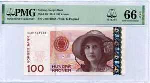 NORWAY 100 KRONER 2014 P 49 f 15TH GEM UNC PMG 66 EPQ