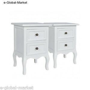 Nightstands-White-Set-of-2-Bed-Side-Cabinet-Storage-Bedside-Two-Drawer-Table