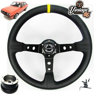 "Ford Cortina Mk4 5 Classic 13/"" Polished Vinyl Steering Wheel /& Boss Fitting Kit"