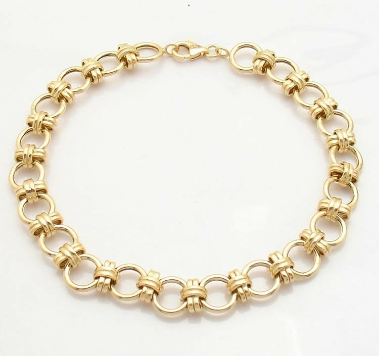 Round Status Link Bracelet Real Solid 14K Yellow gold QVC J280835 FREE SHIPPING