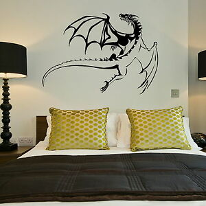 Dragon Giant Removable Wall Sticker  Wall Stickers  Large Vinyl Transfer NE126 - <span itemprop=availableAtOrFrom>Tamworth, Staffordshire, United Kingdom</span> - We offer a 100% customer satisfaction gaurantee, if you are unhappy with the item for any reason you will be entitled to a refund/replacement, where a replacement is requi - Tamworth, Staffordshire, United Kingdom