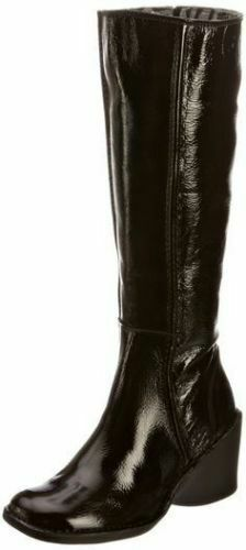 FLY LONDON ERIKA BLACK PATENT LEATHER KNEE HIGH WEDGE BOOTS UK 5 EUR 38
