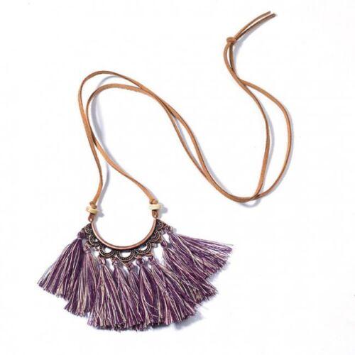 Tassel Pendant Necklace Sweater Long Boho Leather Rope Jewelry Silk Fabric HOT