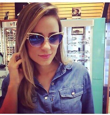 New Women Retro Cat Eye Mirrored Sunglasses Metal Resin Lens Eyewears