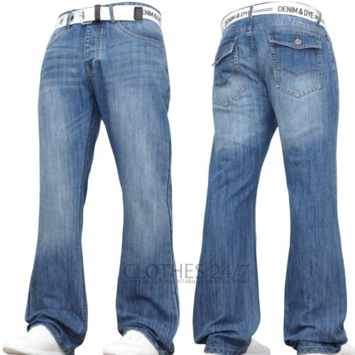 MENS JEANS NEW BOOTCUT FLARE BLUE FLARED WIDE LEG PANT KING PLUS ALL WAIST SIZES