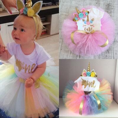 US Seller 3Pcs Newborn Baby Girl Unicorn Birthday Romper Tutu Skirt Dress Outfit