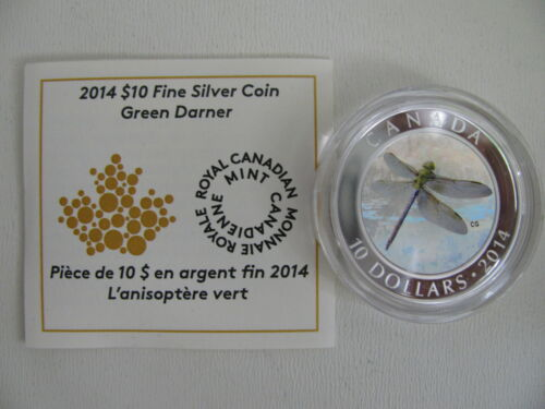 2014 Proof $10 Dragonfly #2 Green Darner Canada .9999 silver COIN/&COA ONLY
