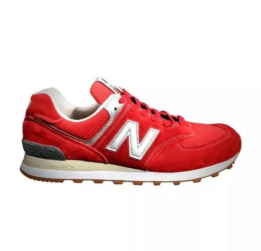 NEW BALANCE MEN'S 574 CLASSIC RUNNING SNEAKERS RED SUEDE NEW WITHOUT BOX
