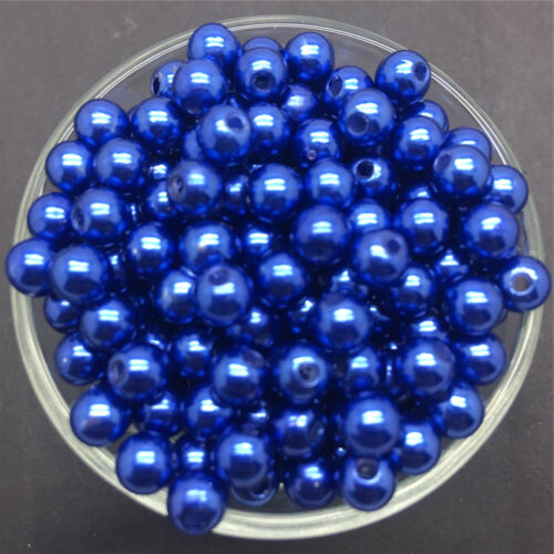 Wholesale 100PCS 6mm Blue Acrylic Round Pearl Spacer Loose Beads Jewelry Making