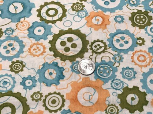 Fabric Cogs Spokes Wheels Coral Olive Aqua on Cotton by the 1//4 yd