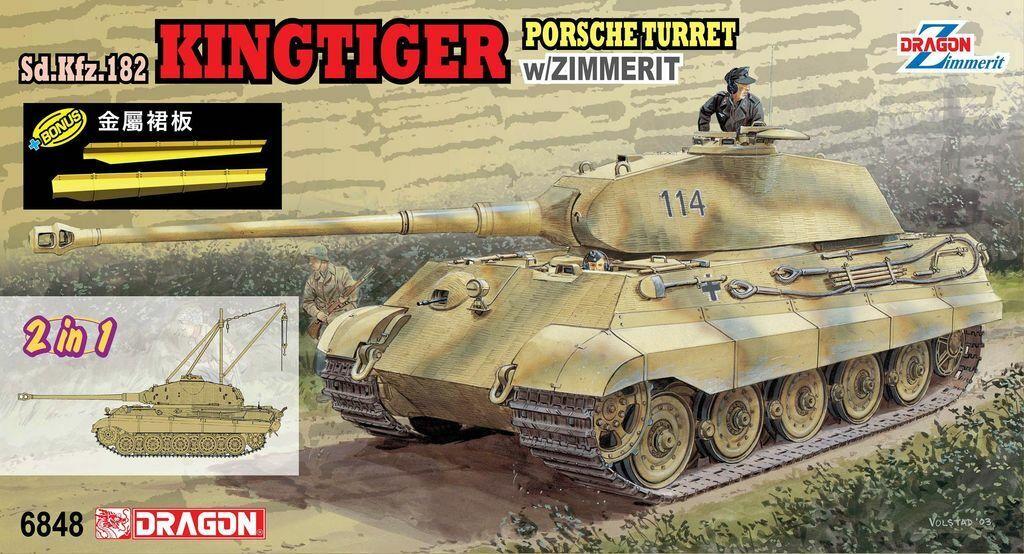 Dragon 1 35 6848 Sd.Kfz.182 KingTiger Porsche Turret w Zimmerit