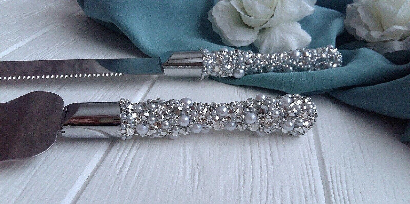 Crystal wedding cake knife and server set Cake cutting set cake serving set