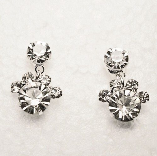 PAWPRINTS Crystal Earrings Post Style Gift Boxed