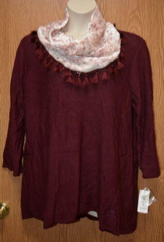 Womens Pretty Burgundy Wine Style/&co Sweater /& Scarf Size 2X NWT NEW