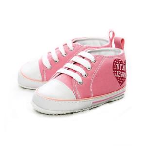 Baby-Maedchen-Rosa-Leinen-Hi-Tops-Kinderwagen-Schuhe