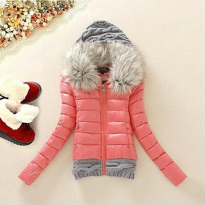 2014 Women's Fashion Fur Collar Hooded Down Jacket Slim Warm Thicken Knitting Wo