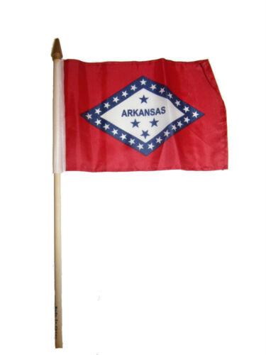 """6x9 6/""""x9/"""" State of Arkansas Stick Flag wood Staff"""