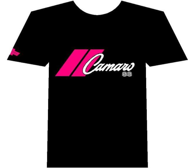 Chevy Camaro Muscle car Auto T-shirt Black 100% Cotton Pink Logo