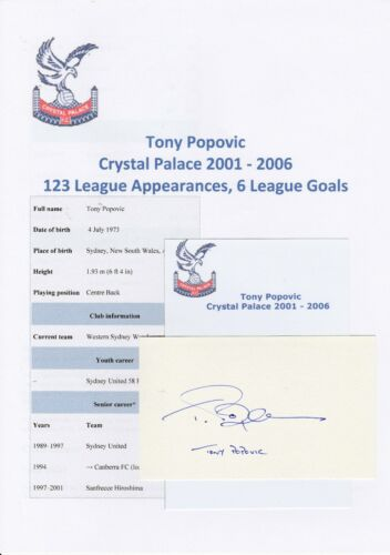 TONY POPOVIC CRYSTAL PALACE 20012006 ORIGINAL HAND SIGNED CUTTINGCARD