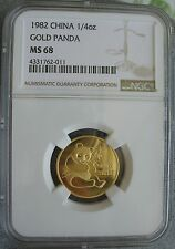 1982 China  Panda 1/4 oz Gold NGC MS-68