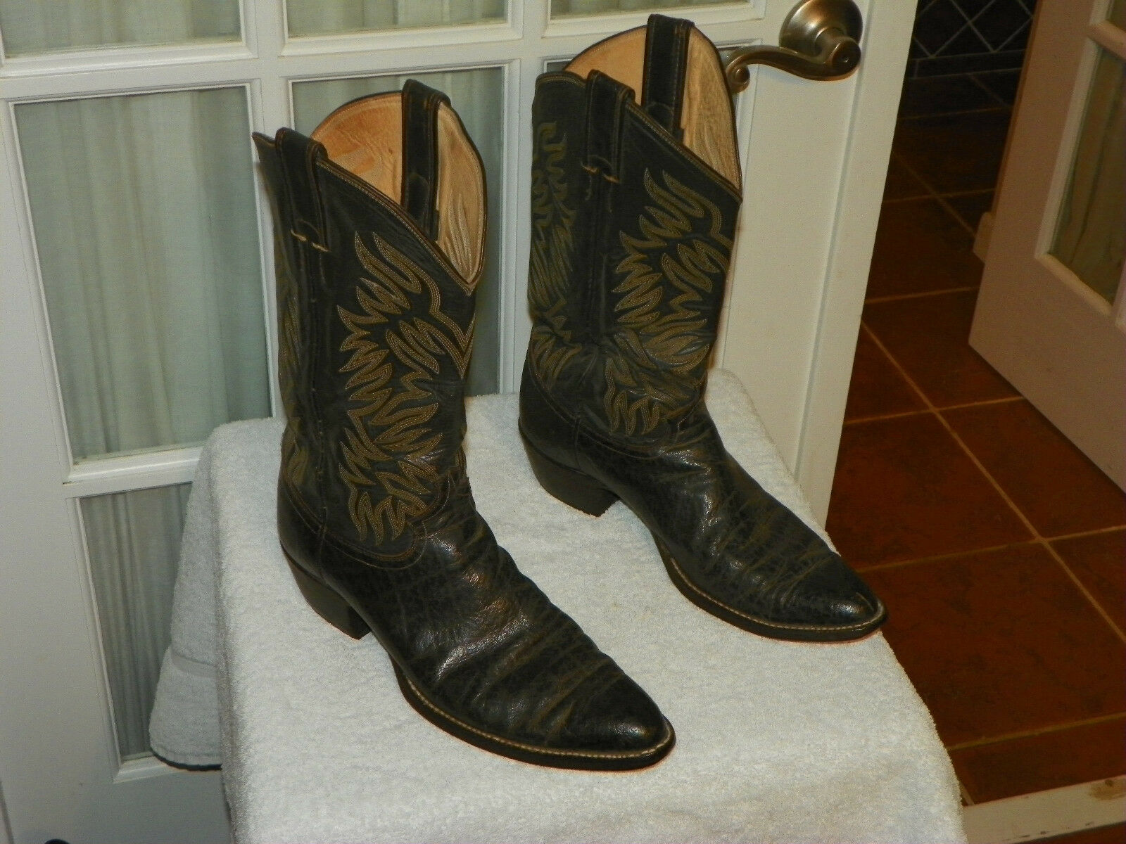 Men's Justin 2472 Dark Brown Leather Western Cowboy Boots Sz 10.5 B Narrow