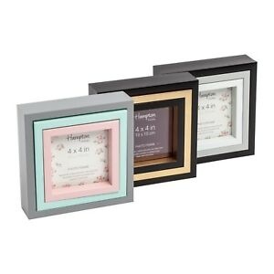 Triple-Set-Photo-Picture-Frames-6x6-5x5-4x4-Black-Grey-Green-Pink-Gold-Display