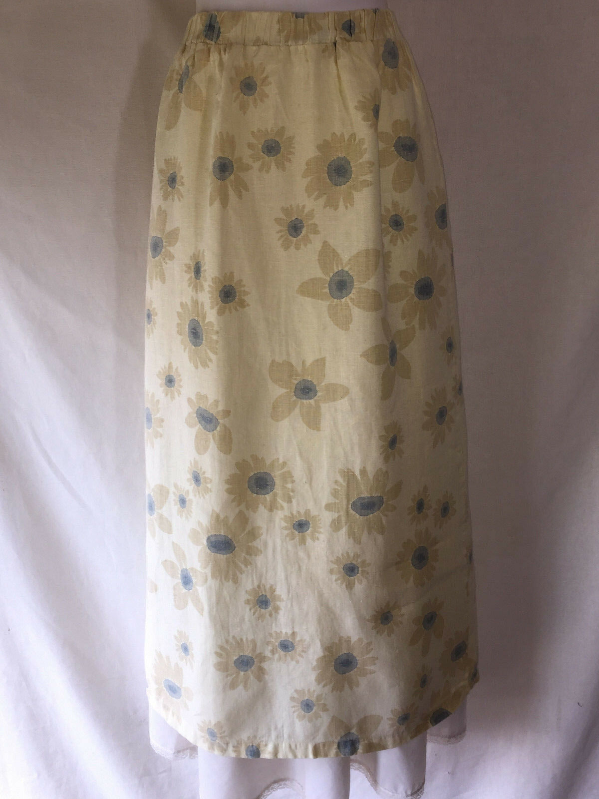 C.C. Collection Long Simple Yellow bluee Flowers Floral Linen Skirt Made in USA L