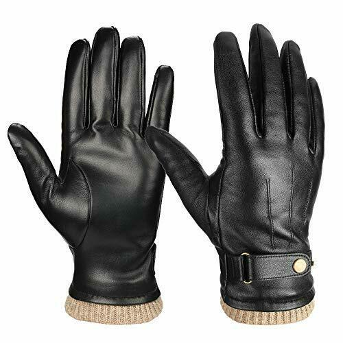 Luxury Winter Warm Thermal Fleece Fully Lined Leather Gloves Dressing Driving