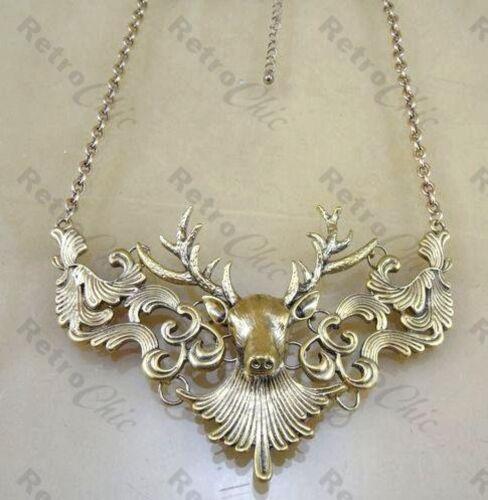 LARGE ORNATE STAG HEAD NECKLACE vintage style DEER ANTLER antique gold pl BIB