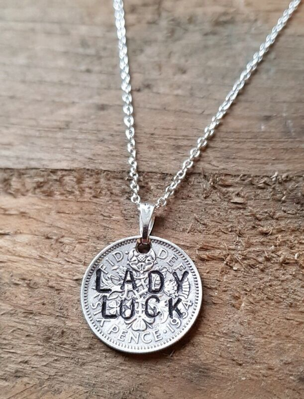 """""""lady Luck"""" Stamped Vintage Lucky Sixpence Necklace"""