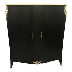 Monumental-French-Art-Deco-Ebonized-Dry-Bar-Cabinet-With-Marble-top-1940-039-s