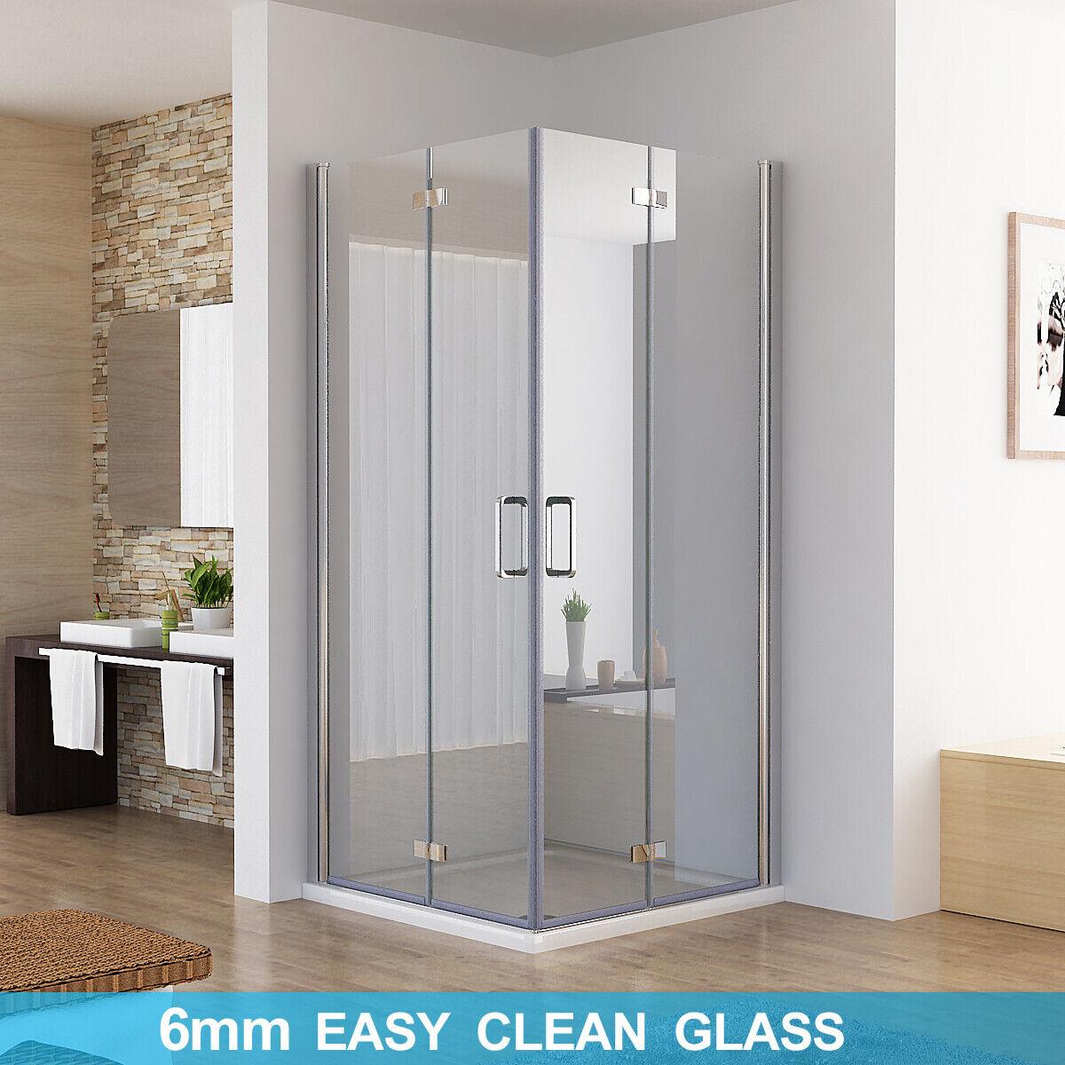 Shower Enclosure Corner Entry Bifold Door Frameless 6mm Nano Glass 1850mm