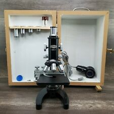 Vintage Olympus Tokyo Microscope In Wooden Box With Extras Smooth Operation