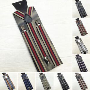 Adjustable-Slim-Trouser-Suspenders-Braces-Clip-On-Fancy-Dress-Ladies-Men-Stripes