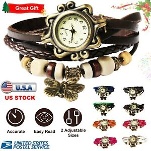 Women-039-s-Ladies-Fashion-Boho-Chic-Handmade-Leather-Bracelet-Watch-Butterfly-Gift