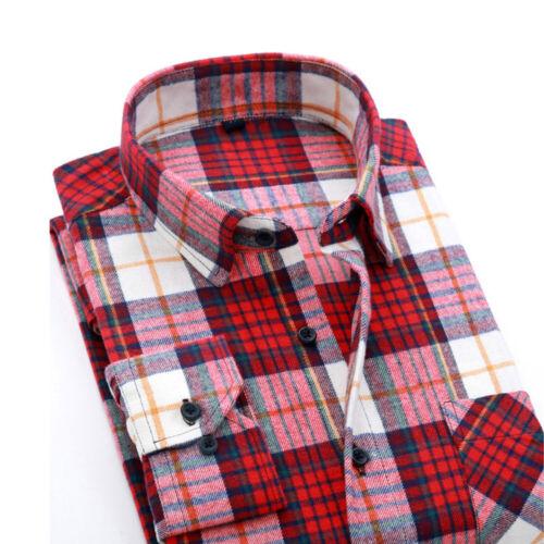 Mens Stylish Slim Fit Flannel Long Sleeve Check Shirt Dress Casual Shirts Tops