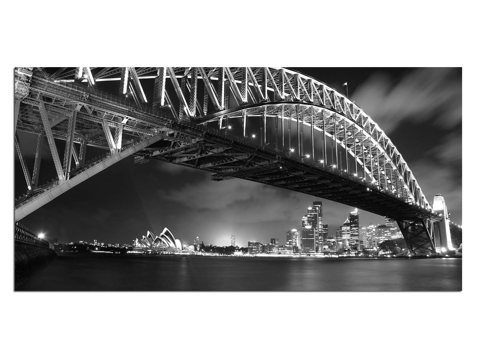 Deco Glass Picture EG4100501077 AUSTRALIA BRIDGE S&W Größe 39,37  x 19,68  HD Pri