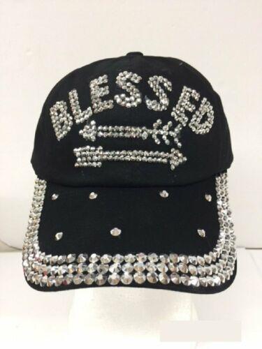 """/""""BLESSED/"""" Rhinestone Black Cap Hat"""