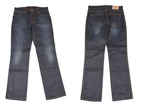 Nudie Slim Jim Glacier Bleu Indigo Jeans Jambe Droite Hommes Jean W33 L32