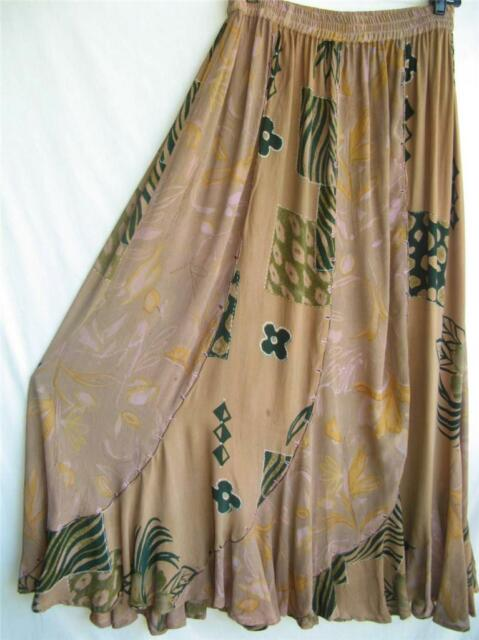 SK153~TIENDA HO~BROWNs~Ruffle Twist Broomstick Skirt~Child's Pattern~Rayon~OS